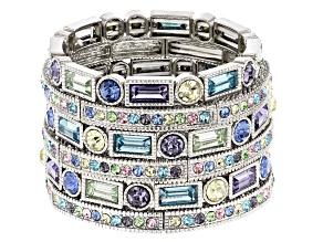 Multicolor Crystal Silver Tone Stretch Bracelet Set Of 6