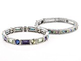 Multicolor Crystal Silver Tone Stretch Bracelet Set Of 6