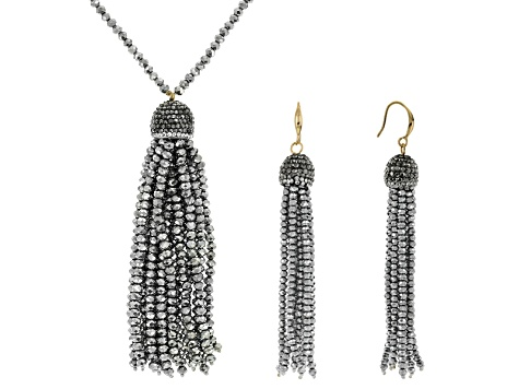 Multicolor Crystal Silver Tone Crystal Bead Gold Tone Tassel Necklace And Earring Set
