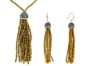 Multicolor Crystal Yellow Crystal Bead Gold Tone Tassel Necklace And Earring Set