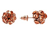 Rose Crystal Rose Tone Hoop And Stud Earrings Set Of 6
