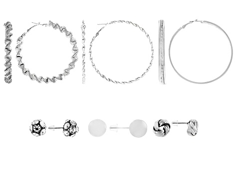 White Crystal Silver Tone Hoop and Stud Earrings Set of 6