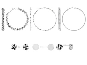 White Crystal Silver Tone Hoop and Stud Earrings Set of 6
