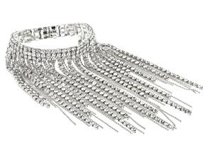 White Crystal Silver Tone Fringe Bracelet