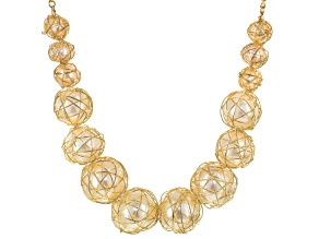 Pearl Simulant Gold Tone Wire Wrapped Statement Necklace