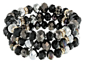 White Crystal Black And Silver Bead Antiqued Gold Tone Stretch Bracelet Set Of 3