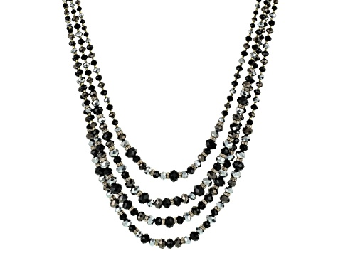 White Crystal Black And Silver Bead Antiqued Gold Tone Multi Layer Necklace
