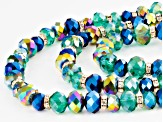 White Crystal Blue And Green Bead Antiqued Gold Tone Multi Layer Necklace