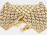 White Crystal Gold Tone Statement Bracelet