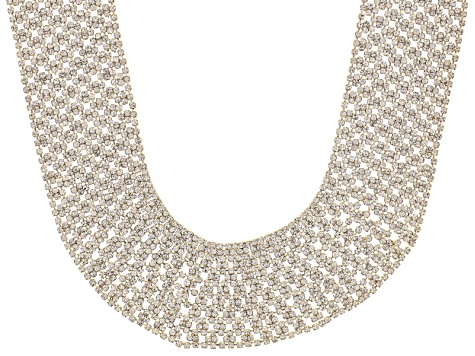 White Crystal Gold Tone Collar Necklace
