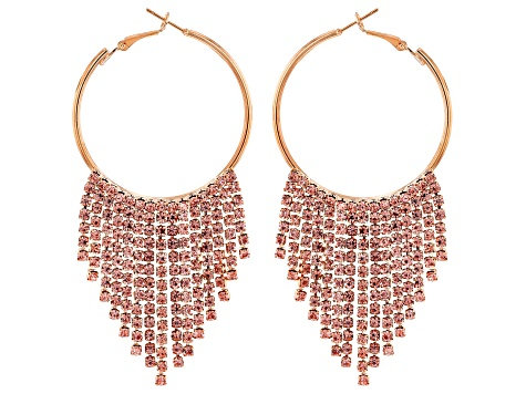 White And Peach Crystal Gold Tone Silver Tone Fringe Hoop Earring Set Of 3