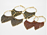 Red Blue And Green Crystal Gold Tone Fringe Hoop Earring Set Of 3