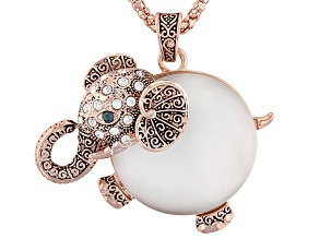 White And Blue Crystal Moonstone Simulant Rose Tone Elephant Pendant With Chain