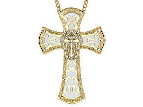 White Crystal White Enamel Gold Tone Cross Pendant With Chain