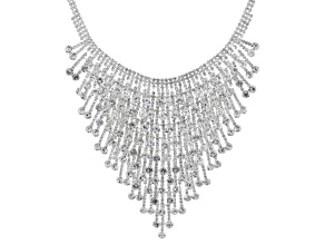 White Crystal Silver Tone Statement Necklace