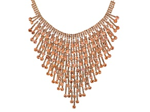 Peach Crystal Gold Tone Statement Necklace