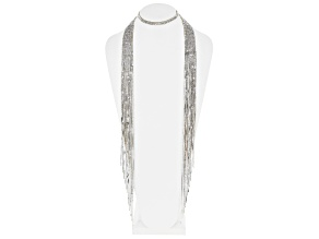 White Crystal Silver Tone Fringe Scarf Necklace