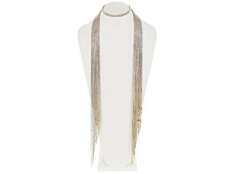 White Crystal Gold Tone Fringe Scarf Necklace