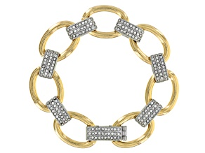 White Crystal Gold Tone Silver Tone Bracelet