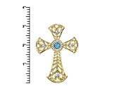 White Crystal Turquoise Simulant Gold Tone Cross Pin/Pendant With Chain