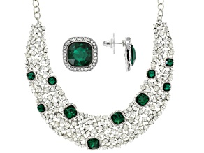 White And Green Crystal Silver Tone Necklace And Earring Set