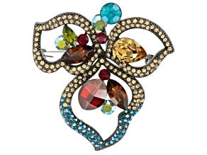 Multicolor Swarovski Elements ™ Gunmetal Tone Brooch