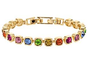 Multicolor Crystal Gold Tone Line Bracelet