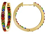 Multicolor Crystal Gold Tone Hoop Earrings