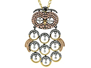 Multicolor Crystal Gold Tone Gunmetal Tone Owl Pin/Pendant With Chain
