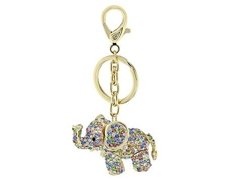 Multicolor Crystal Gold Tone Elephant Keychain - OPC178  22dfa324d
