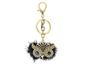 Gold Tone Black And Gray Crystal Owl Keychain