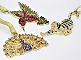 Multi Crystal Two-Tone Hummingbird Tiger And Peacock Ornament Set Of 3