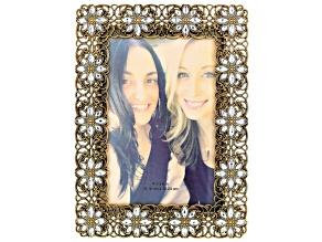 Gold Tone White Crystal 4x6 Picture Frame With Velvet Backing