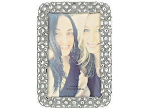 Silver Tone White Crystal 4x6 Picture Frame With Velvet Backing