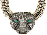 Multicolor Swarovski Elements ™ Antiqued Gold Tone Cheetah Necklace