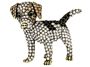 Multicolor Crystal Antiqued Gold Tone Jack Russell Terrier Brooch