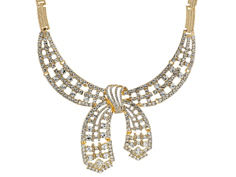 White Crystal Gold Tone Bow Statement Necklace