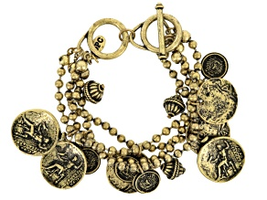 Multi Chain Antiqued Gold Tone Coin Charm Bracelet