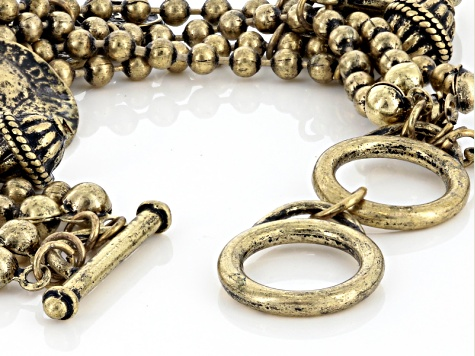 Multi Chain Antiqued Gold Tone Coin Charm Bracelet