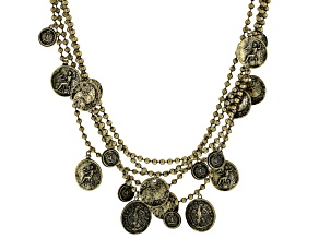 Multi Chain Antiqued Gold Tone Coin Necklace
