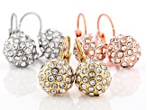White Crystal Gold Tone Silver Tone And Rose Tone Dangle Earring Set Of 3