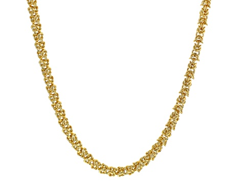 White Crystal Gold Tone Byzantine Link Necklace