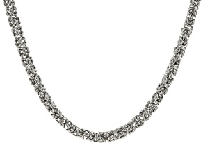 White Crystal Silver Tone Byzantine Link Necklace