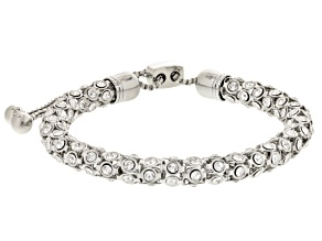 White Crystal Silver Tone Sliding Adjustable Bracelet