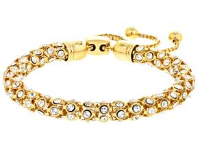 White Crystal Gold Tone Sliding Adjustable Bracelet