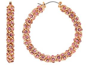 Pink Crystal Rose Tone Hoop Earrings