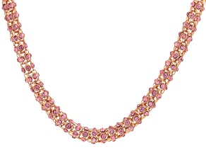 Pink Crystal Rose Tone Necklace