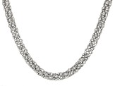 White Crystal Silver Tone Necklace