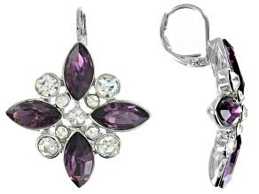 White And Purple Crystal Silver Tone Dangle Earrings