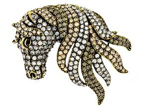 Multicolor Crystal Antiqued Gold Tone Horse Brooch